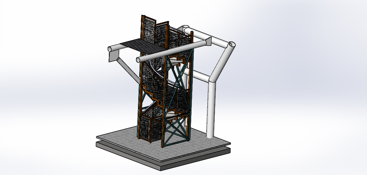 Shop Drawing 3D Model of Stairs and Railings Construction with Structure