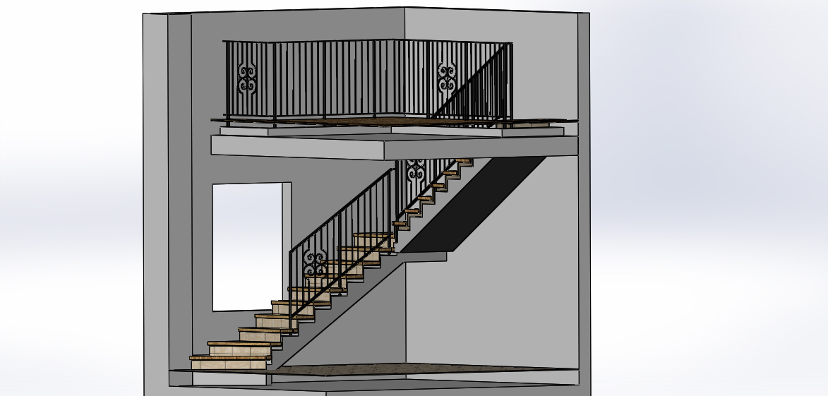 Shop Drawing 3D Model of Railings Construction with Structure